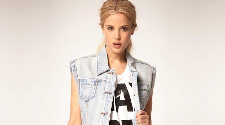Жіноча джинсова безрукавка