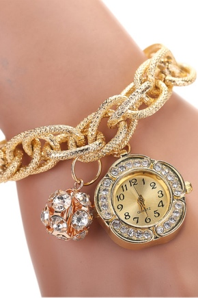 Золотий годинник із золотим браслетом