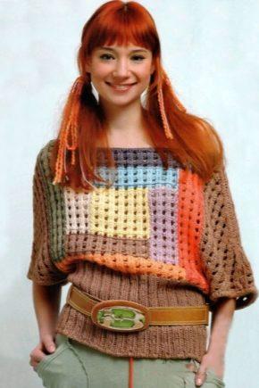 Кофти-пуловери з різнокольорових ниток, мохеру, трикотажу